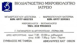 ΒΙΟΔΙΑΓΝΩΣΤΙΚΟ ΜΙΚΡΟΒΙΟΛΟΓΙΚΟ ΙΑΤΡΕΙΟ (ΜΑΡΙΝΟΠΟΥΛΟY Κ & ΜΠΑΚΙΡΤΖΟΓΛΟΥ Δ)