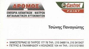 ΔΡΟΜΟΣ (ΤΣΩΝΗΣ ΧΑΡΙΛΑΟΣ & ΠΑΝΑΓΙΩΤΗΣ ΟΕ)