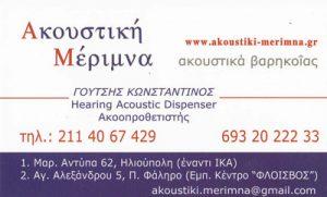 ΑΚΟΥΣΤΙΚΗ ΜΕΡΙΜΝΑ (ΓΟΥΤΣΗΣ ΚΩΝΣΤΑΝΤΙΝΟΣ)